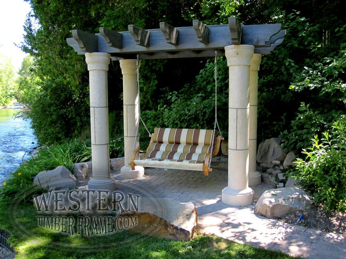 free standing pergola arbor with canyon gray stain and roosevelt