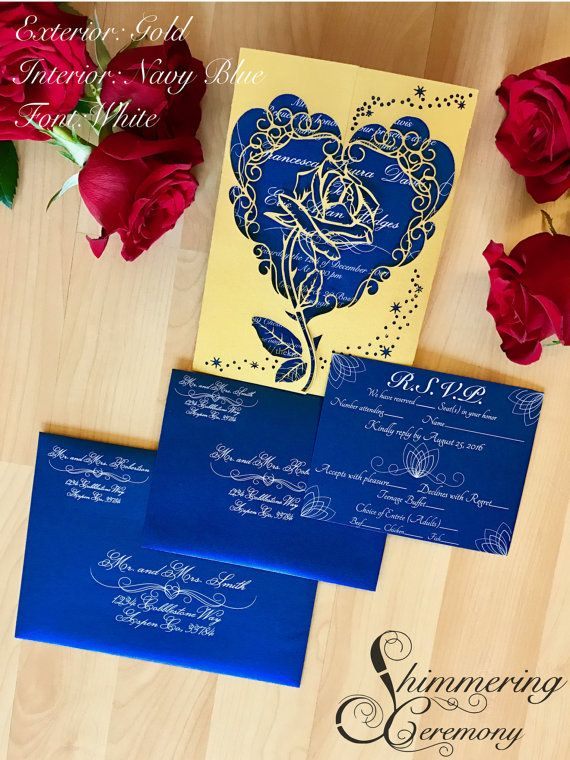 Beauty And The Beast Inspired Invitation By Shimmeringceremony