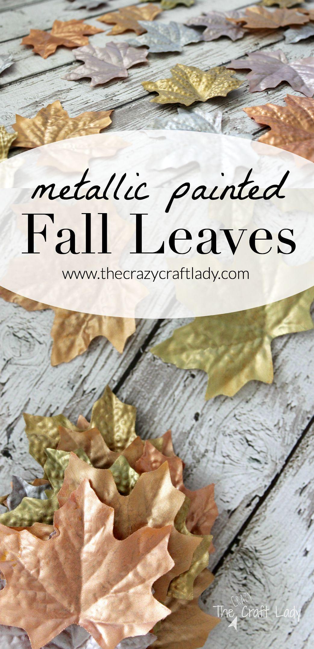 Dollar Store Metallic Fall Leaves Thanksgiving Diy Fall Decor Diy Dollar Store Diy