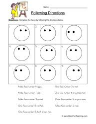 follow directions worksheet smilies kindergarten following directions following. Black Bedroom Furniture Sets. Home Design Ideas