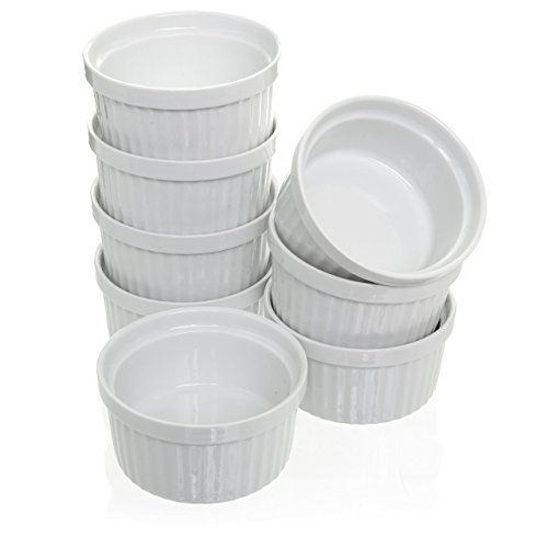 8 Piece 4 Oz Porcelain Ramekins Bakeware Set White Porcelain Baking Cups For Pudding Creme Brulee Custard Cups A Ramekin Dishes Ramekins Creme Brulee Dishes