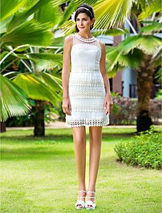 bainha / coluna jóia curto / mini-vestido de noiva chiffon ... – BRL R$ 384,66
