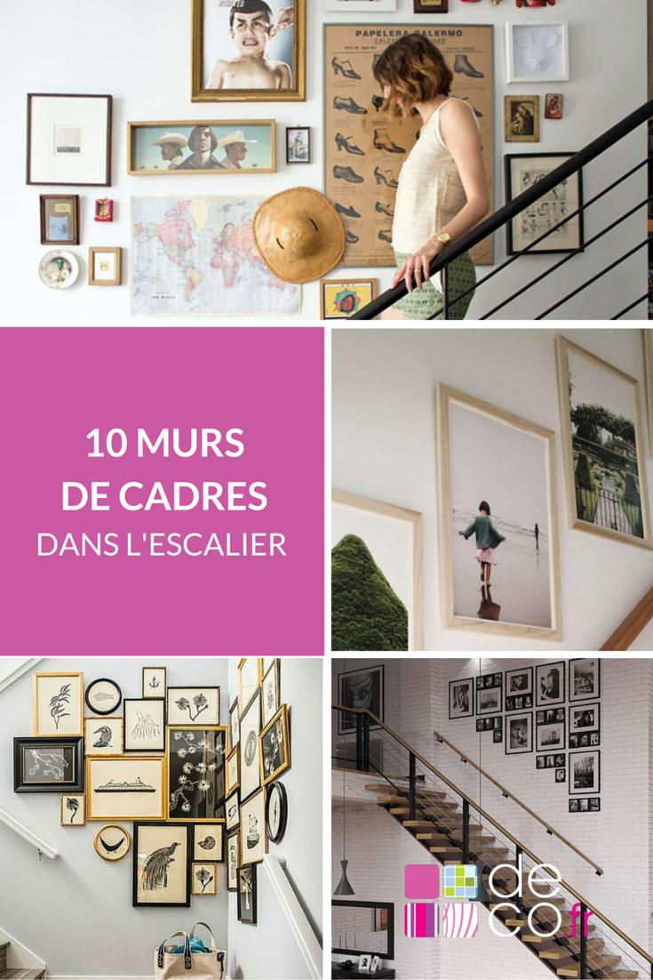 10 murs de cadres dans l 39 escalier deco pinterest mur de cadres deco fr et diaporama. Black Bedroom Furniture Sets. Home Design Ideas