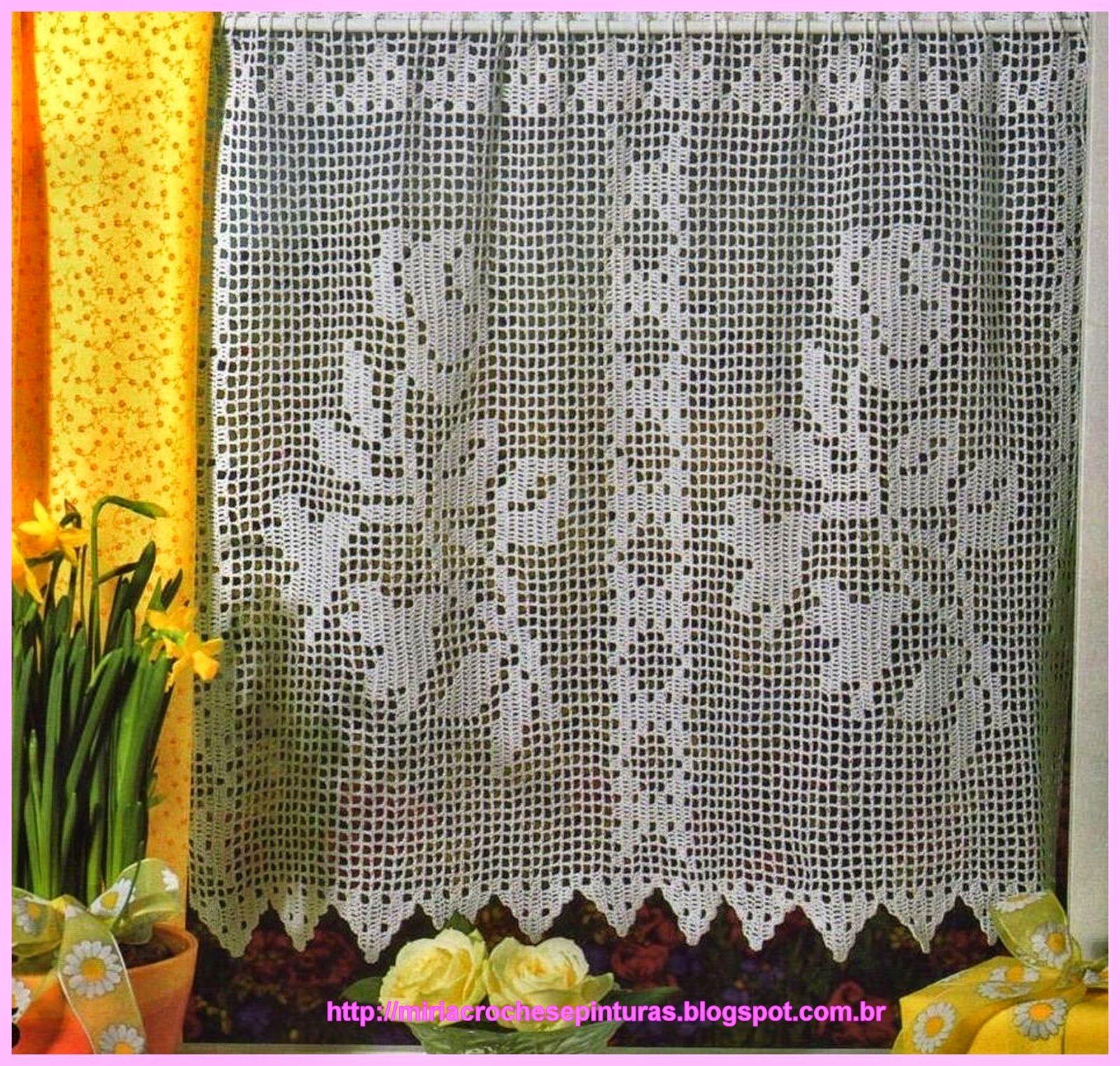 Miria croch s e pinturas cortinas de croch de fil for Cortinas ganchillo