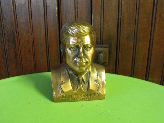 Vintage JFK John F Kennedy Bronze/Copper Bust Bank by peacenluv72, $36.50