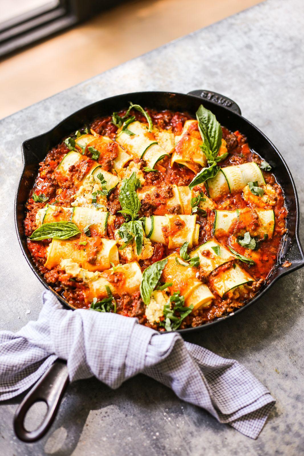 Dairyfree zucchini rollups in easy bolognese sauce the