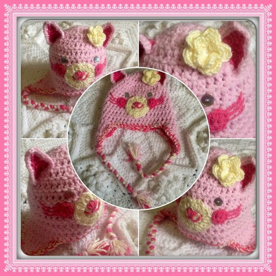Hand Crochet Thick Snuggly Adorable Pink Kitty Ear Flaps Hat by OnceUponACraft4U, Such a Sweet Cat! Love it!