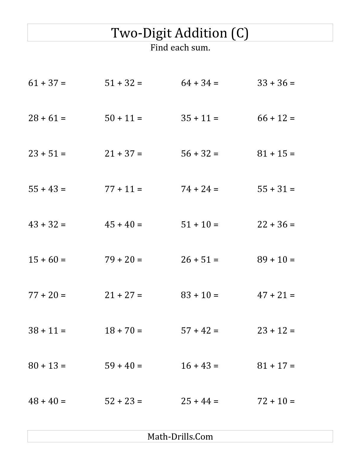 The Horizontal Two-Digit Addition No Regrouping (C) math worksheet ...