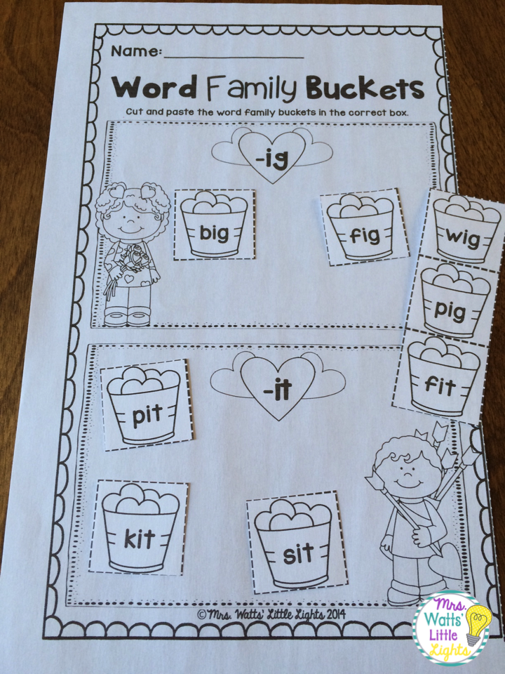 Valentine\'s Day Literacy and Math Pack - Word Family Worksheets ...