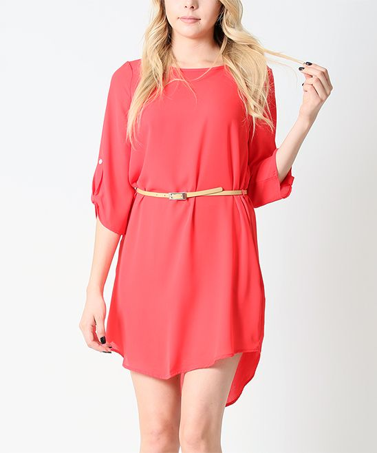 Coral Belted Roll-Tab Sleeve Hi-Low Dress