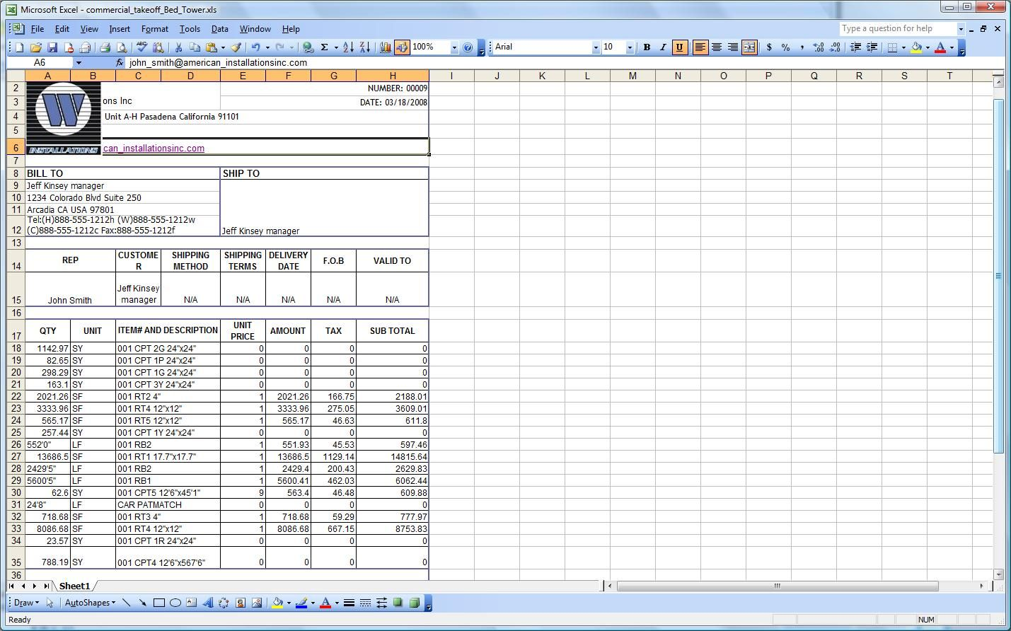 Construction Take Off Spreadsheets Spreadsheet App Spreadsheet Spreadsheet Template