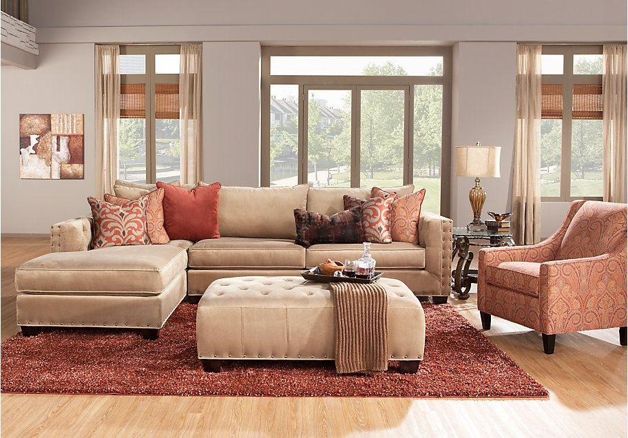 Picture Of Cindy Crawford Home Lyndhurst 4 Pc Sectional Living Entrancing Tan Living Room Collection Design Ideas