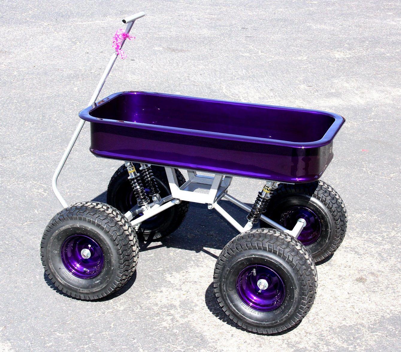 Candy Purple and Metallic Silver swing-arm wagon by Baja Wagon