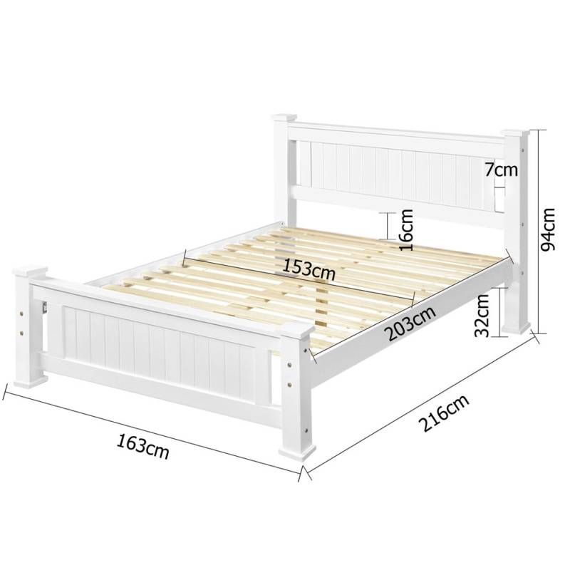Queen Size Solid Pine Wooden Bed Frame In White Queen Size Solid