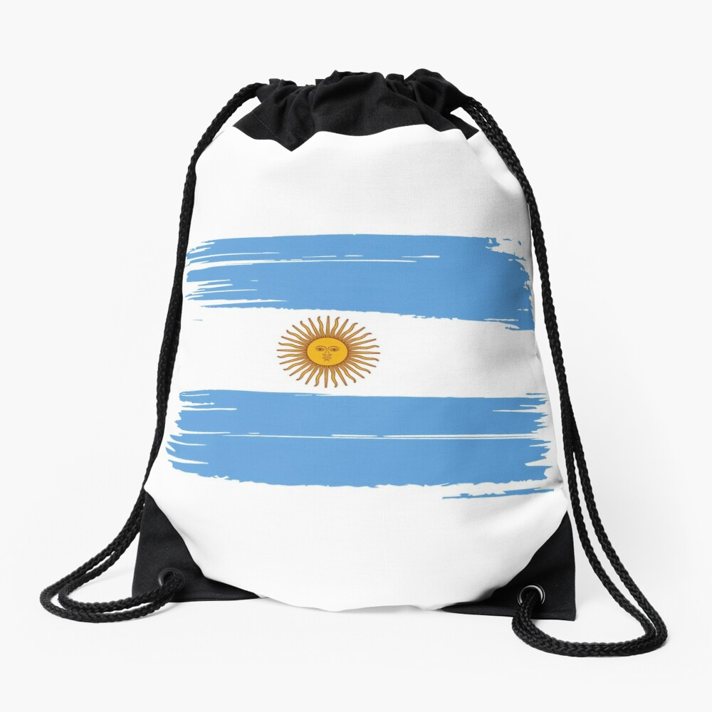 Drawstring Backpack Argentina Flag Bags