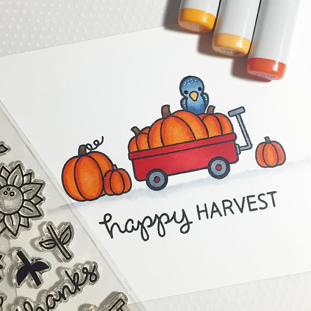 I used the @lawnfawn happy harvest stamp set for day one of #thedailymarker30day3  #lawnfawn #copicmarkers