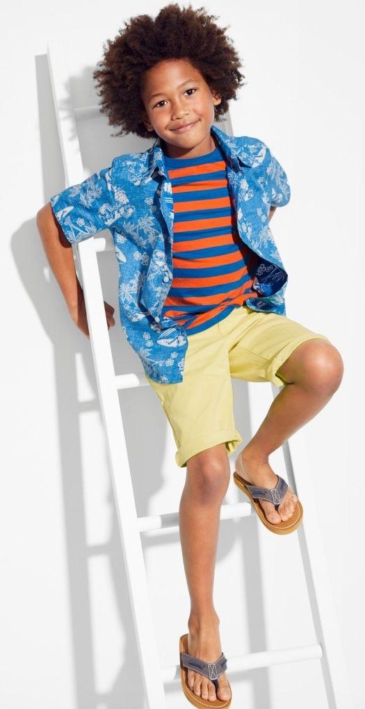 Vacation ready!   Boys  fashion   Kids  clothes   Boys tropical print  button-down shirt   Striped t-shirt   Chino shorts   Flip flops   The  Children s Place 21da0faa2a