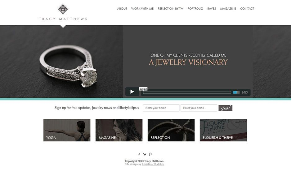 TracyMatthewscom website design headway theme Portfolio Web