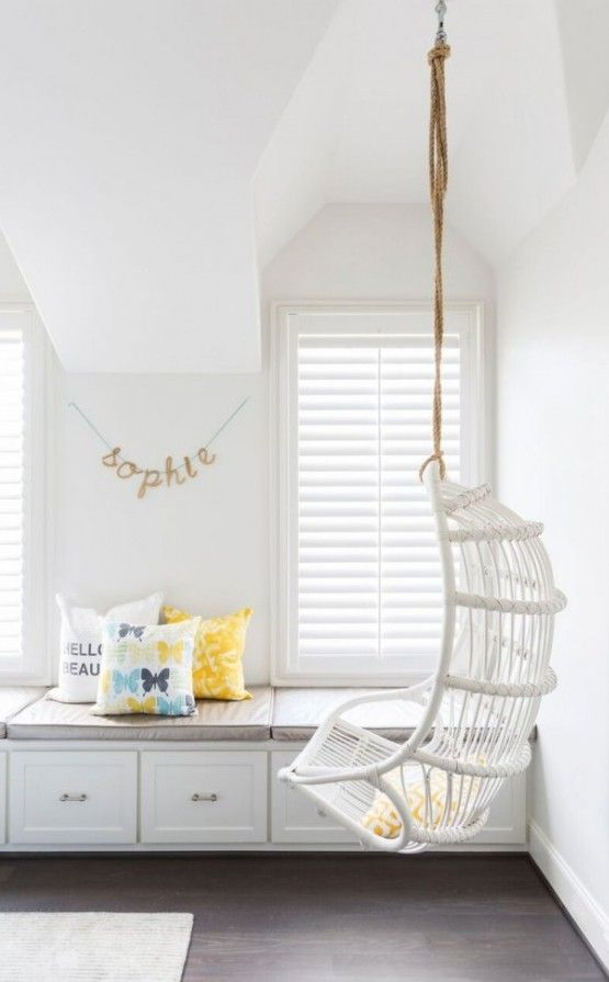 [Cottage Teen Girl Bedroom Features White Rattan Chair Hanging Chairs For  Bedrooms] White Cottage Teen Girl Bedroom Rope Hanging Rattan Chairg Chair  For ...