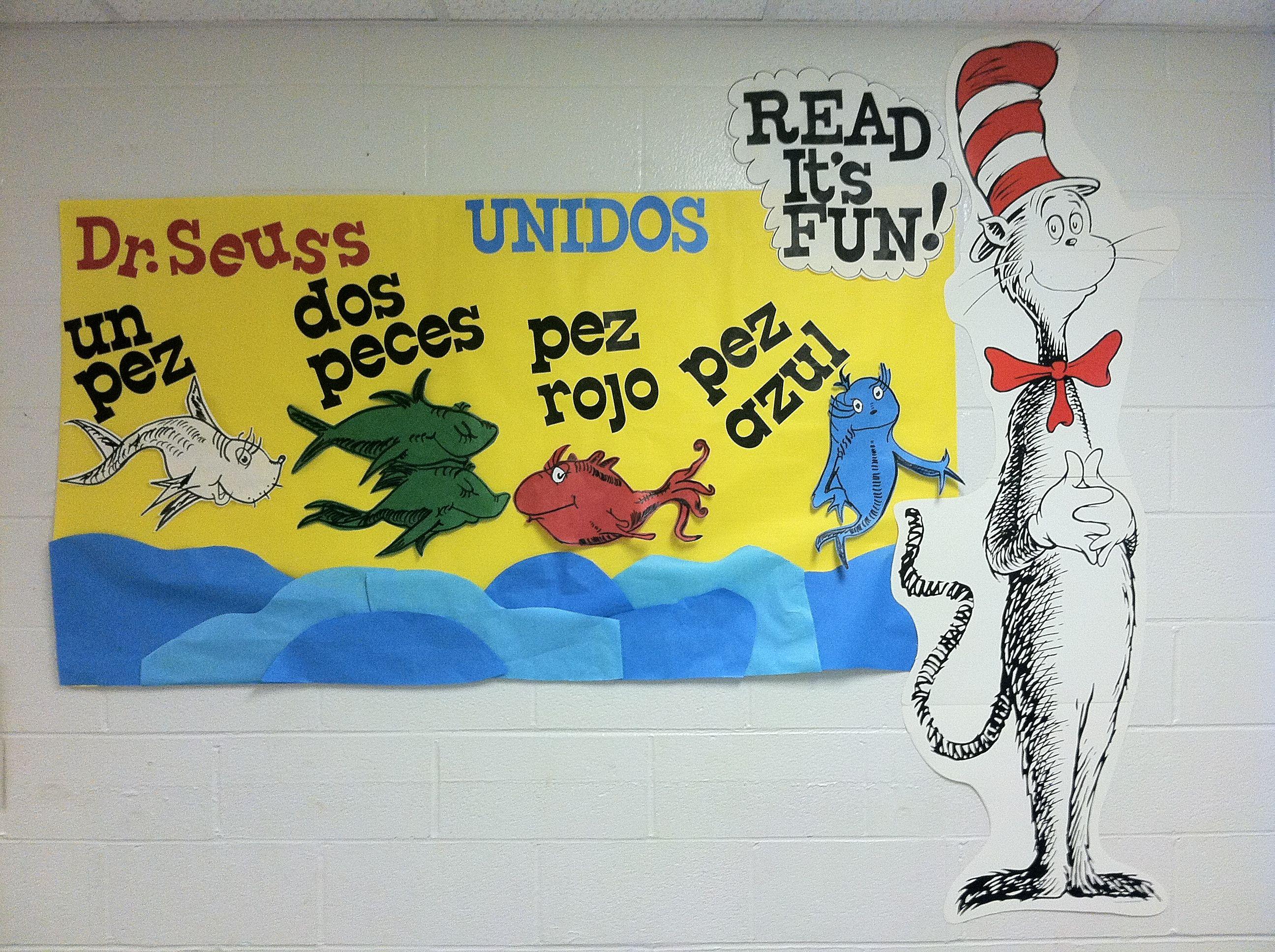 Dr Seuss One Fish Two Fish In Spanish Bulletin Board