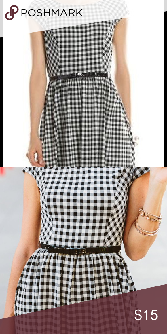 Elle 70th Anniversary Gingham Dress with Bow Belt This stylish and comfortable gingham dress has only been worn twice. Lightweight fabric is stretchy and perfect for spring and summer wear. Great for work or as casual wear. No zippers or buttons to deal with. Machine washable. Comes with cute black bow belt.  Fits a size 10-12. From a smoke-free home. Elle Dresses