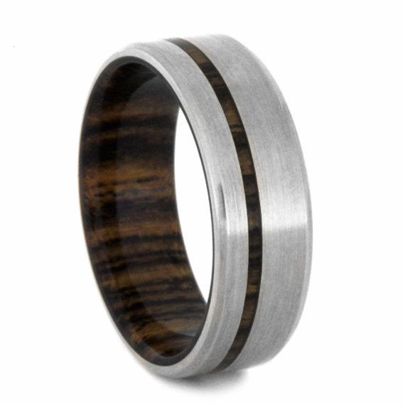 14k White Gold Wedding Band Mens Wood Ring With Beveled Edges Bocote Wood  Jewelry