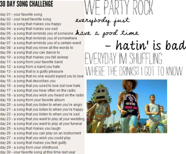 """""""Day 7: Party Rock Anthem"""" by anthamae005 on Polyvore"""