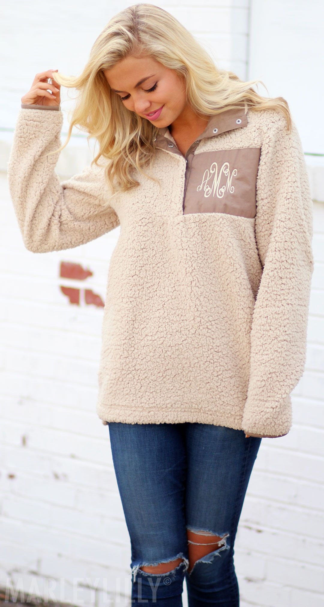 51fe5b98a62 Surely you ll love this Monogrammed Sherpa Pullover from Marleylilly! Click  pin to get yours today!