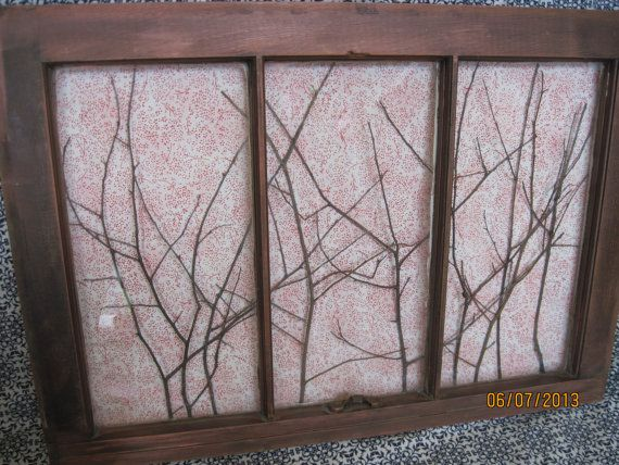 our bedroom old window decor reclaimed red vintage wooden art wall picture rustic shabby chic. Black Bedroom Furniture Sets. Home Design Ideas