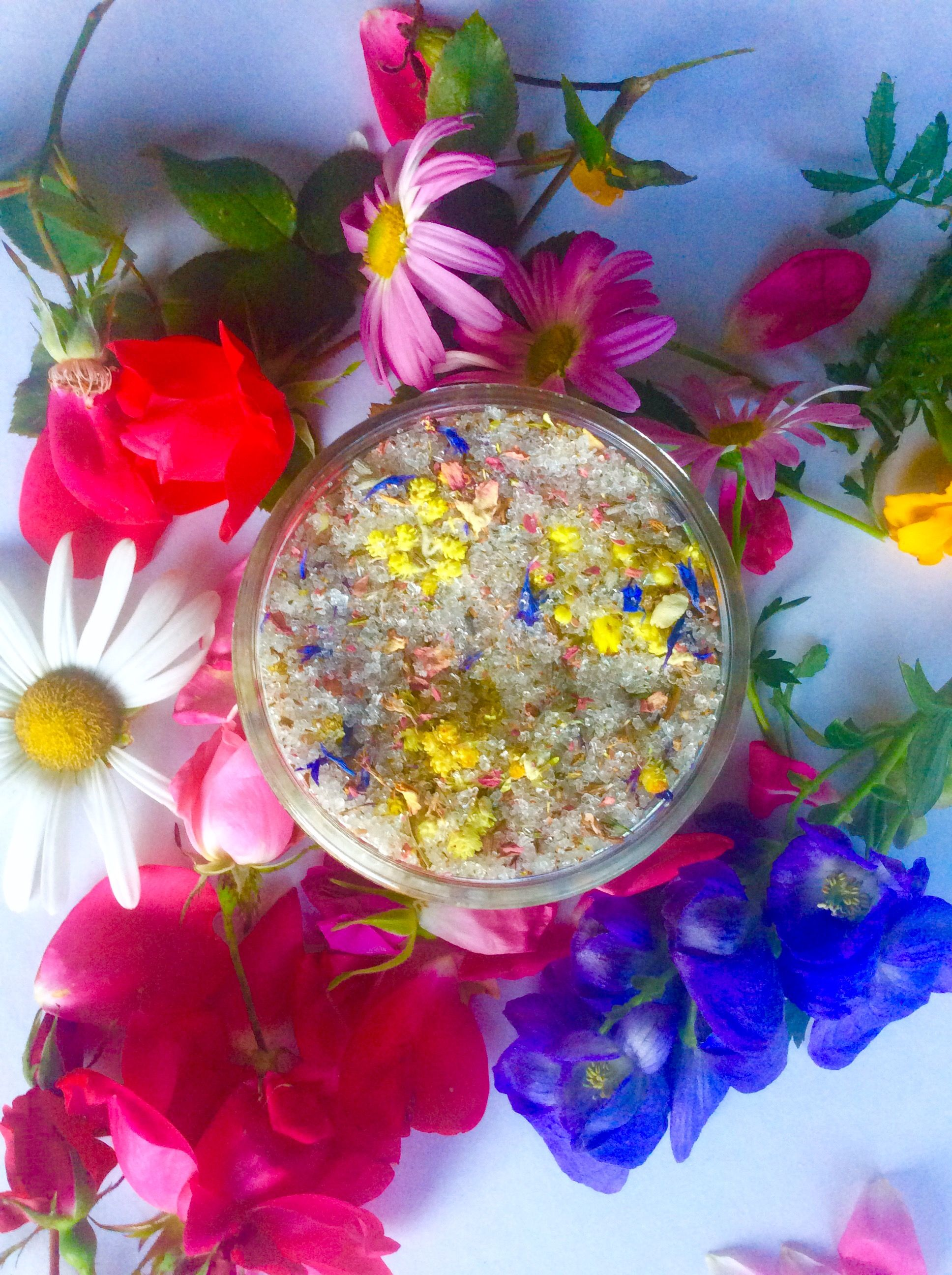 Rainbow Flower Bathing Salts 🌈🦄 xo, Plant Makeup Herbal bath