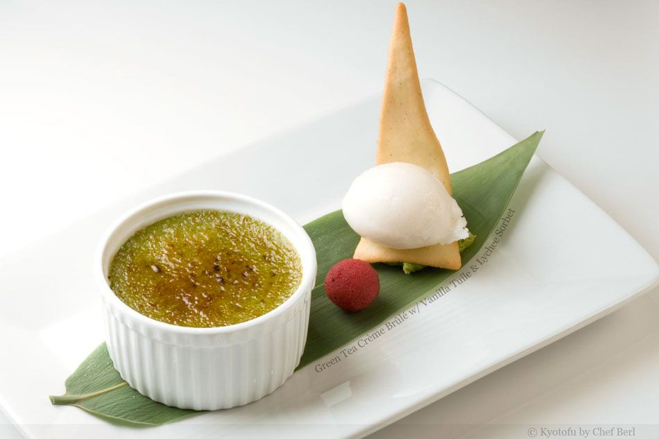 Green Tea Creme Brulee with Vanilla Tuile and Lychee Sorbet