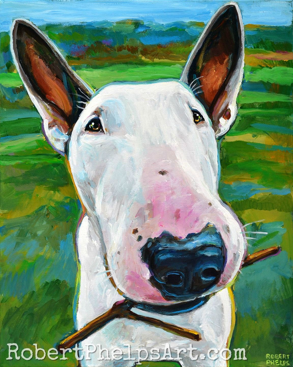 This Is A Custom Pet Portrait Of A Beautiful White Pitbull By