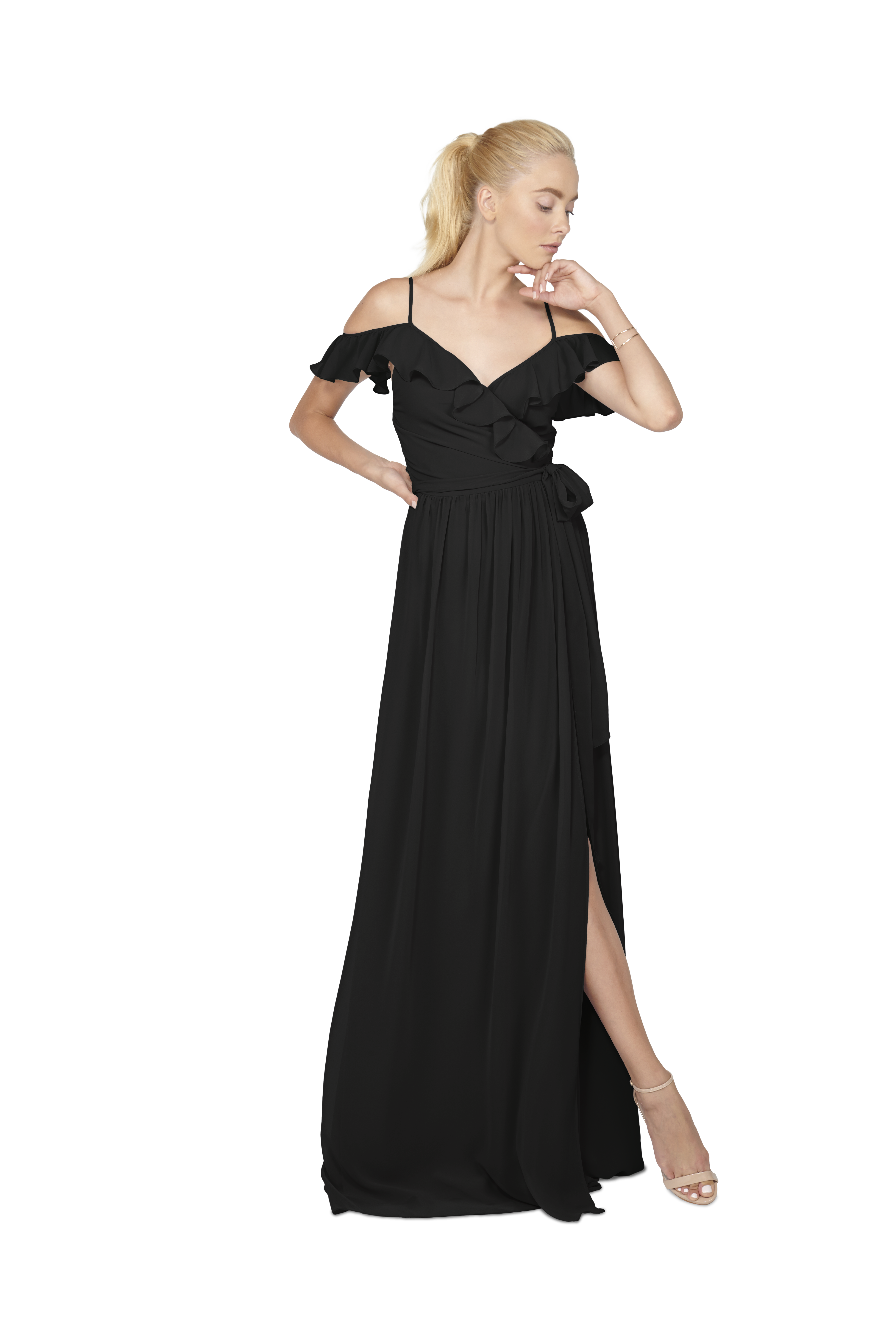 Chiffon wrap gown with off the shoulder ruffle strap. Full skirt that can  be wrapped to tie on the side or in the back. 24c9c47754e6