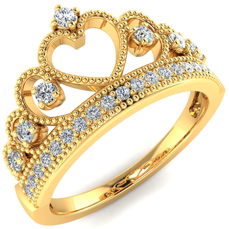 14k Yellow Gold Heart Princess Crown CZ Band Ring Size 8