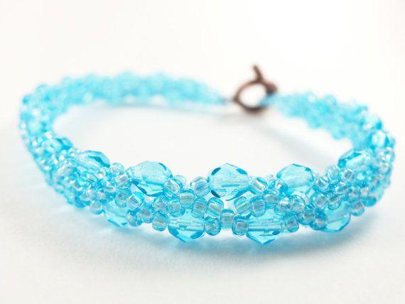 Sky Blue Bracelet  Bright Blue Jewelry  Beaded Jewelry  by Jalycme, $22.00