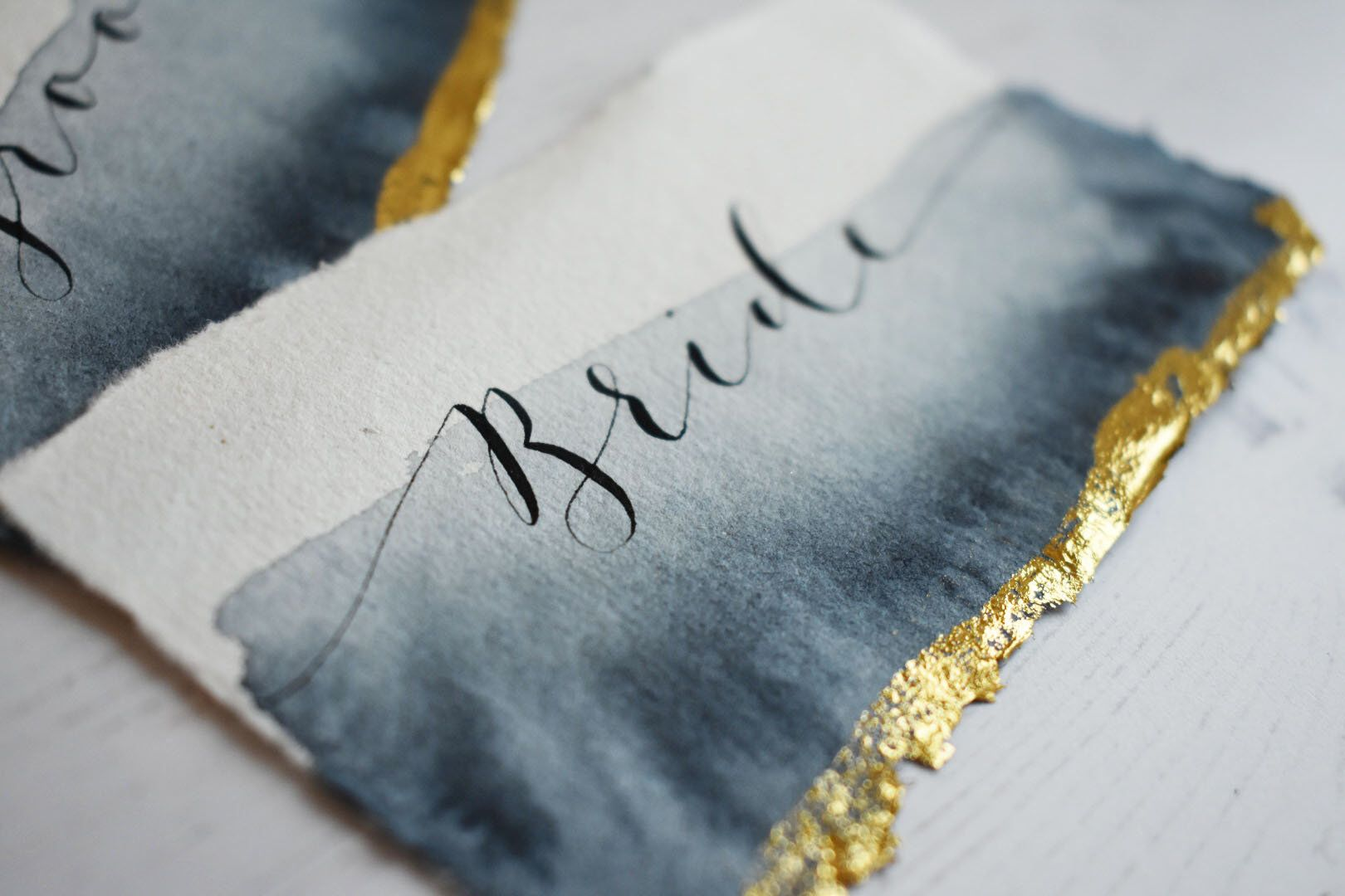 handmade paper place cards  modern calligraphy place