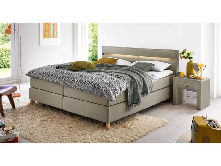 Photo of Komplettbett mit Boxspring-System 140×200 cm sandfarben – Jurata – Box