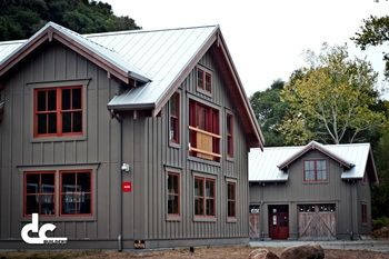 Gray Building Red Window Frames And Doors Shiny Metal Roof Farmhouse Exterior Colors House Roof Metal Siding House