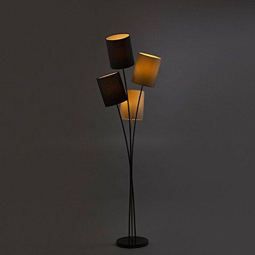 Moderne Designer Stehlampe mit 4 Lampenschirmen in weiß, grau