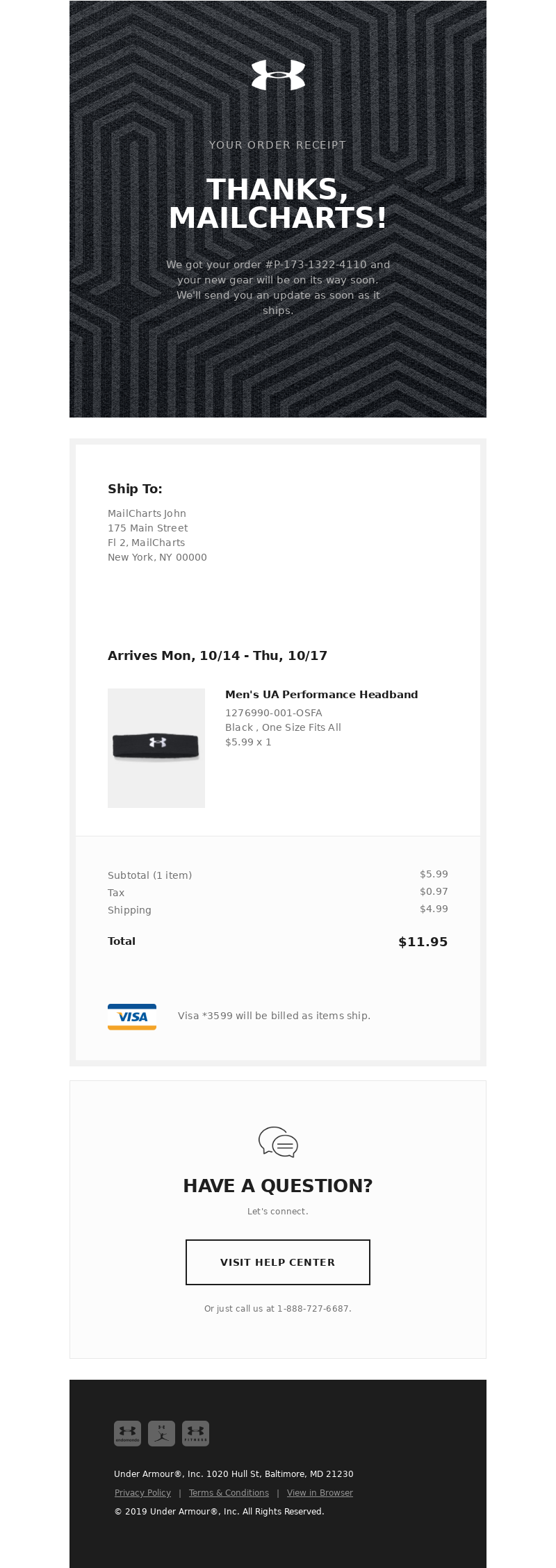 Email From Under Armour Confirmation Email Template Triggered Email Receipt Template