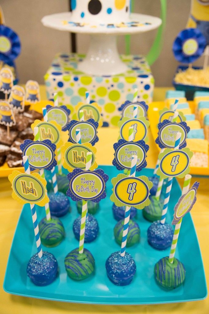 Minion Birthday Party Cake Popswith toppers Cupcakes Pinterest