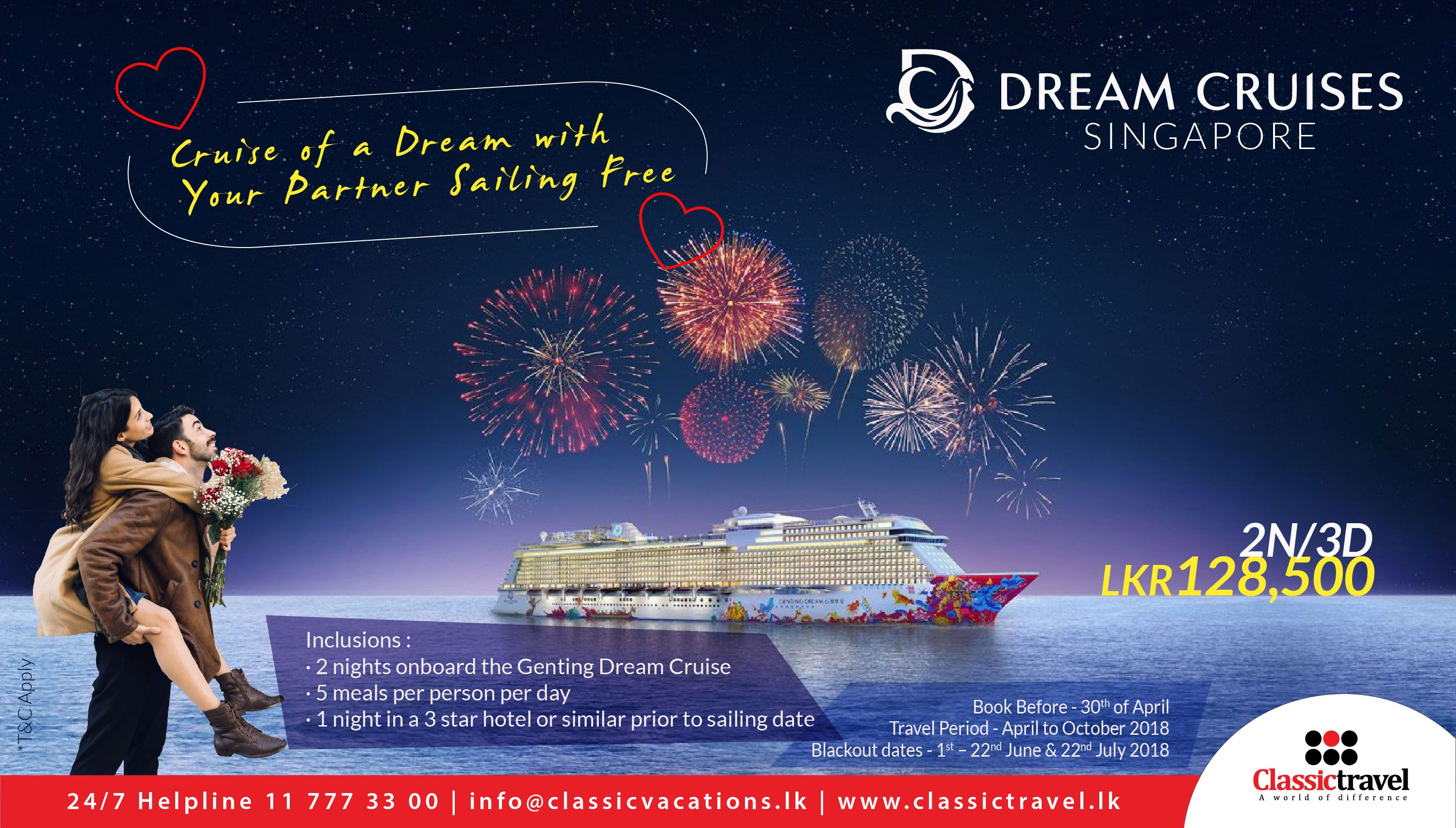 On Board The Genting Dream Cruise With Your Partner Sailing Free Lkr 128 500 Call Us 0117773300 Travel Sail Gentingdream S Dream Cruise Cruise Day Book