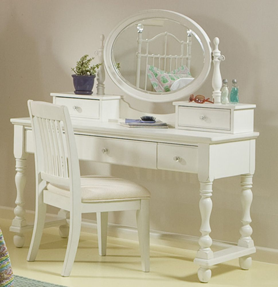 Legacy Classic Furniture Olivia Olivia White Vanity Table With Mirror And  Chair