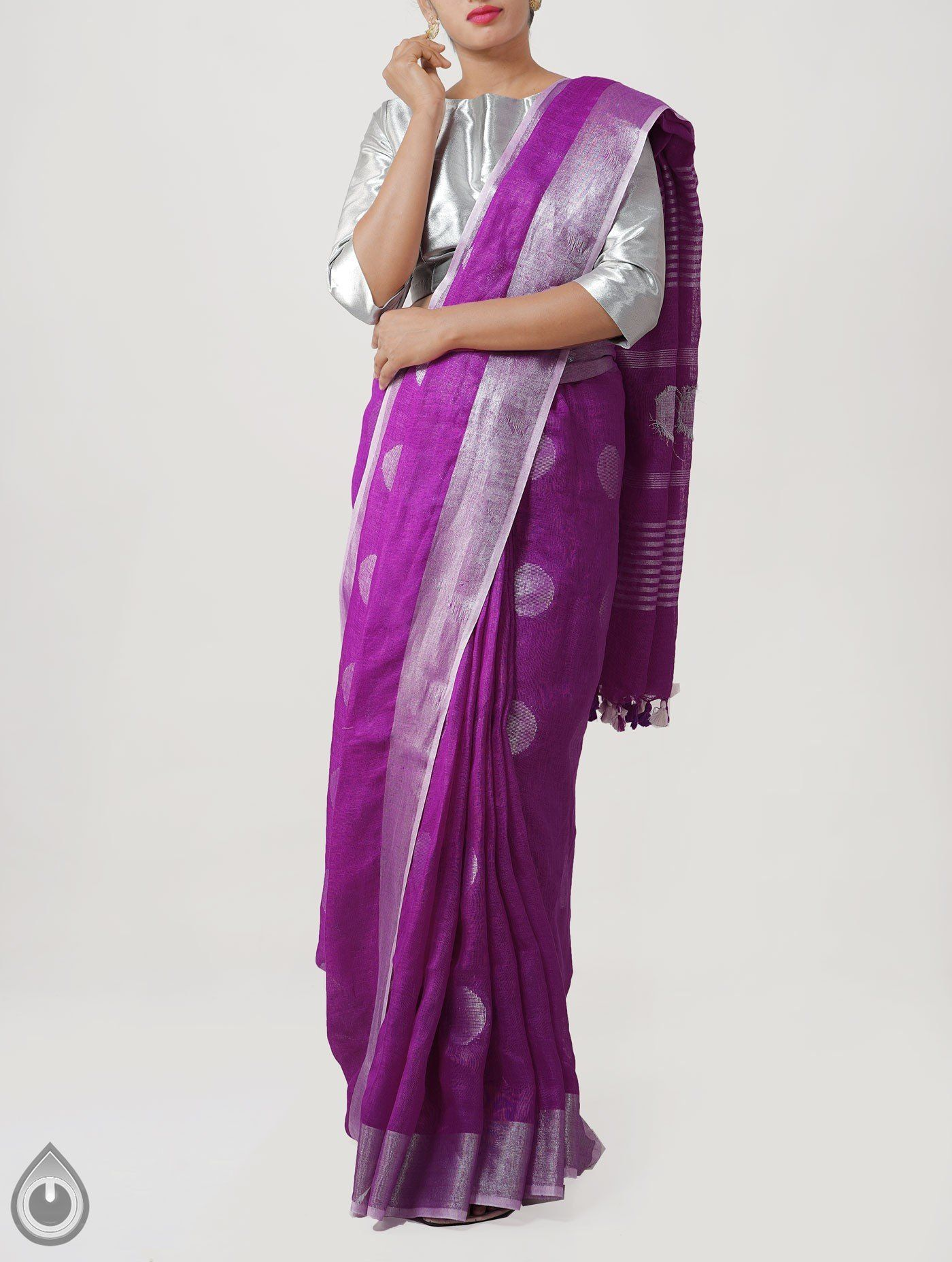 505e0a7c88 Purple Pure Handloom Linen saree with self color blouse. This saree has got  all over silver zari motifs along with silver zari woven border on either  side.