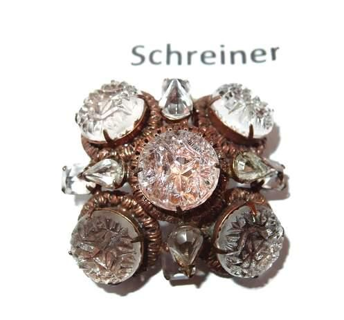 Rare Cut Crystal Schreiner New York High End Brooch