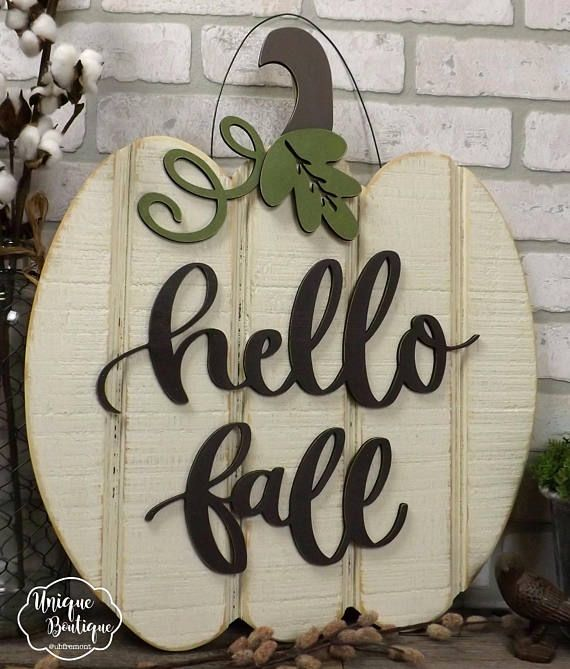 White Pumpkin Door Hanger, Hello Fall Sign, Wood shiplap sign, Neutral Rustic Decor, Farmhouse wall Decor, Modern wreath for Fall #hellofall