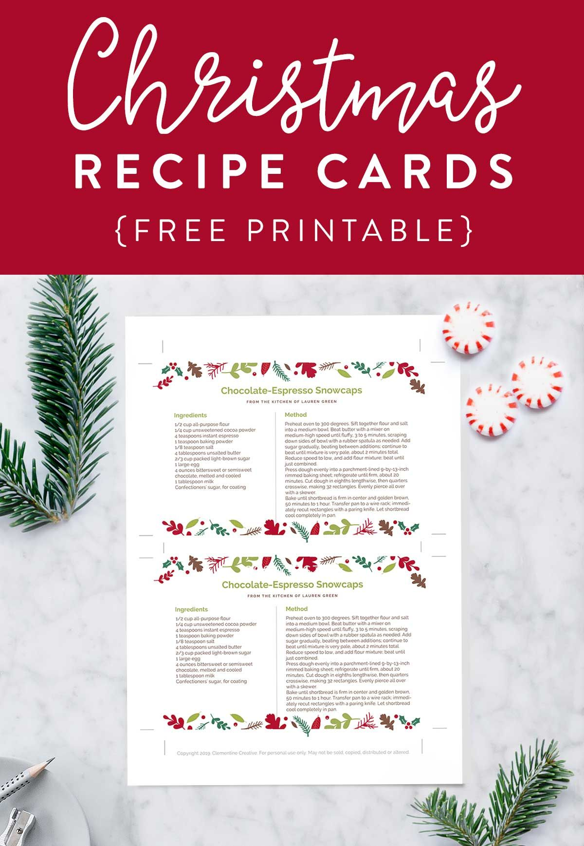 Printable Christmas Recipe Card Editable Pdf Template Clementine Creative Christmas Recipe Cards Printable Christmas Recipe Cards Recipe Cards Template