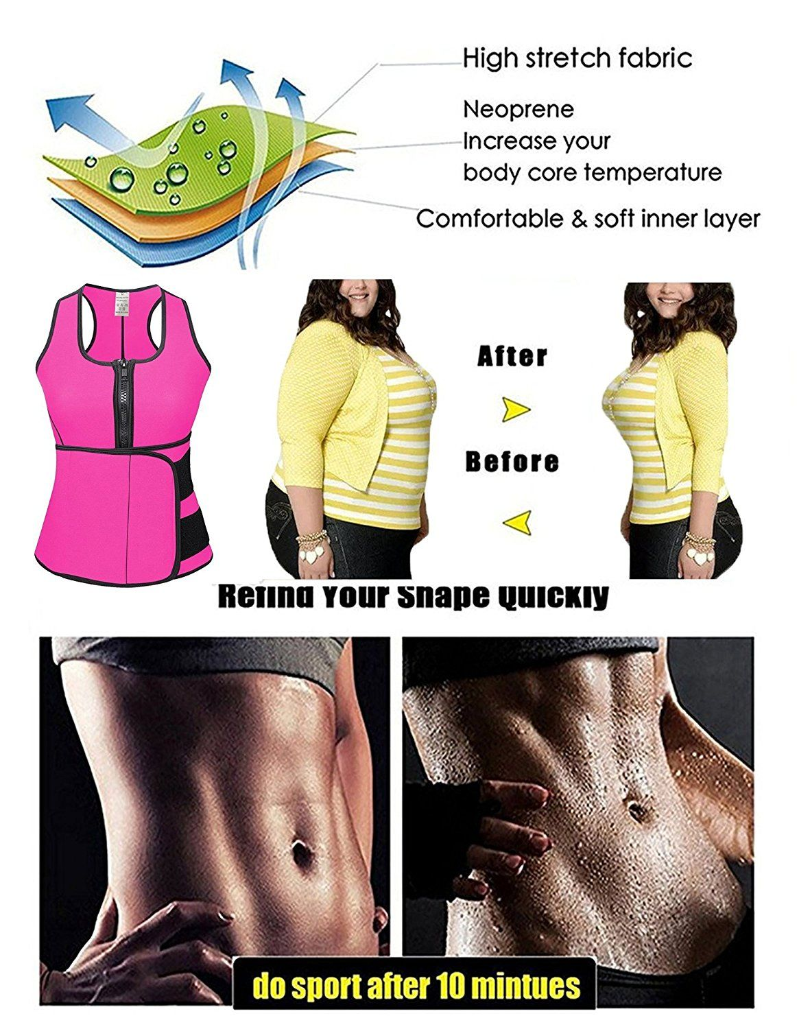 4486115f4e9 Camellias Women s Sweat Neoprene Sauna Suit Tank Top Vest With Adjustable  Shaper Sports Waist Trainer Belt
