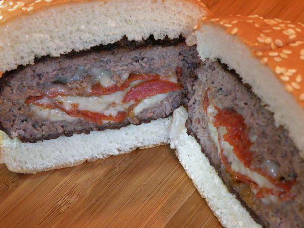Stuffed Pizza Burger Recipe Burger Pocket Press Food Recipes Food Cooking