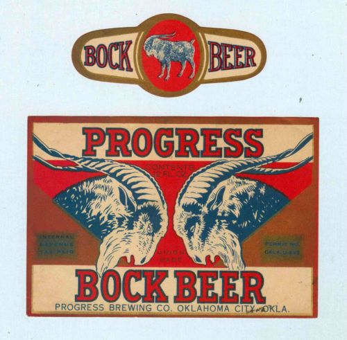 S Progress Bock Beer Labels Progress Brewing CoOklahoma City